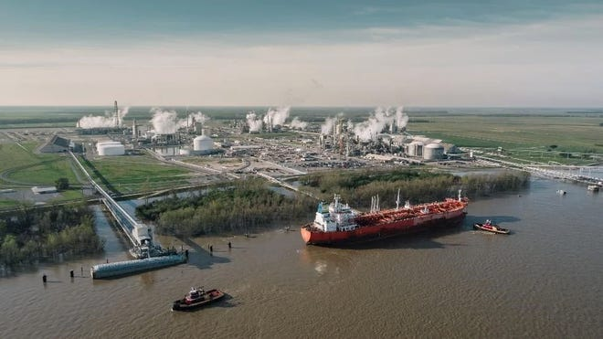The CF Industries Donaldsonville Nitrogen Complex is the world's largest nitrogen facility, according to the company. It is located on 1,400 acres along the west bank of the Mississippi River in Ascension Parish, near the Donaldsonville city limits.