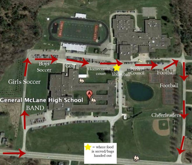 The map shows where General McLane High School players, court, band and others will be stationed during a drive-through homecoming event Saturday from 2 to 4 p.m. on the school district campus.