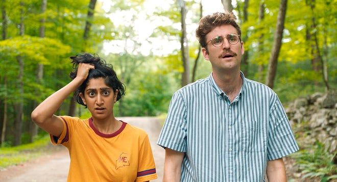 "Sunita Mani, left, and John Reynolds star in ""Save Yourselves!"""