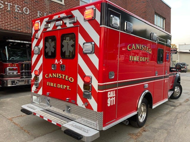 The new Canisteo Fire Department ambulance includes several nifty features including a Power Pro Cot with Load System stretcher to ease patient lifts and lessen the chances of injuries to first-responders. The new rig will be put in service once the certification and registration process is completed.