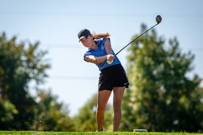 Blue Springs South sophomore Maya McVey hits a tee shot in the Suburban Big Eight Championships Monday at Adaims Pointe Golf Club. McVey fired an 80 to finish third and earn all-conference honors for the second straight season.