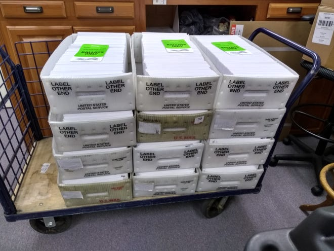 The Des Moines County Auditor's office mailed 8,046 absentee ballots to voters on Monday, the first day for sending absentee ballots to voters. Pictured are half those ballots sent to the Post Office on Monday.