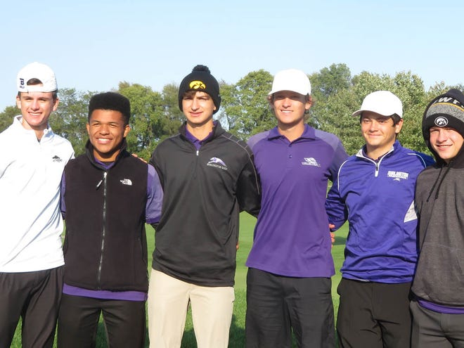 The Burlington High school boys golf team, from left, Nate Spear, Taylor Bunton, Mateo Rascon, Brock Dengler, Dayton Walsh and Tyce Bertlshofer, finished eight at Monday's Class 4A district golf tournament at Glynns Creek Golf Course in Long Grove. All but Bunton will be back for the Grayhounds this fall. BHS opens the season Friday at the Muscatine Invitational.