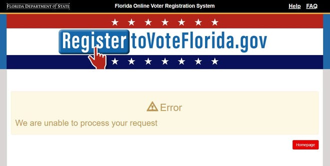 Florida's online voter registration system was still down Tuesday afternoon, 13 hours after the original deadline to register. That deadline was pushed to 7 p.m. Tuesday.