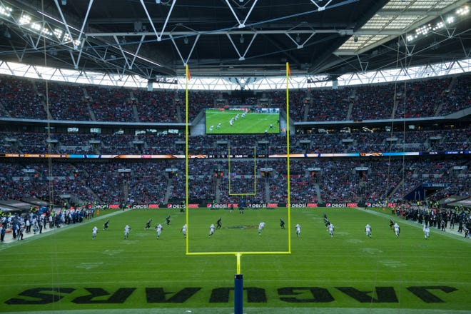 Jacksonville Jaguars and the Indianapolis Colts play in the NFL International Series at Wembley Stadium in London on Sunday, Oct2.