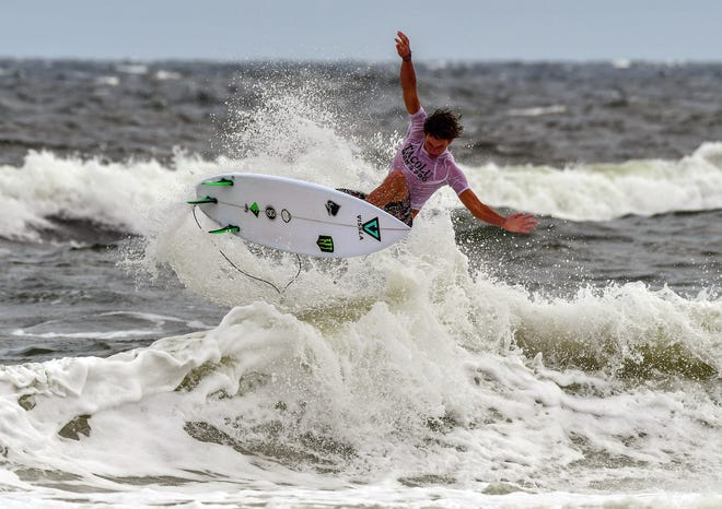 Fall Pro Classic winner, 16-year-old Ryan Huckabee, does an aerial off a wave. Held just one week after the Void Pro/Am event, the surf gave participants a better challenge.