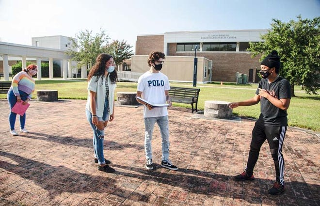 """Coastal Carolina Community College students recently took advantage of the perfect weather by getting in some rehearsal time outside for the upcoming performance of No Fear Shakespeare """"A Midsummer Night's Dream"""" to be held Oct. 23-25, and 28-31."""