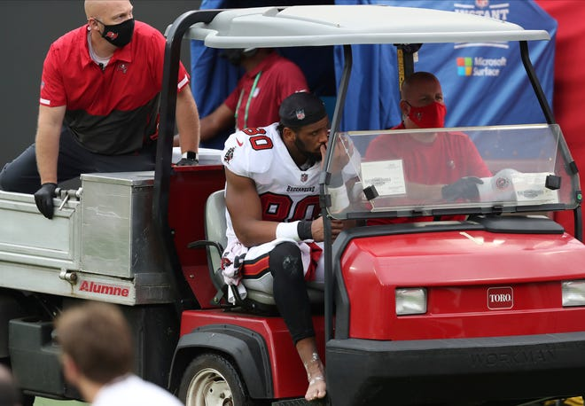 Tampa Bay Buccaneers tight end O.J. Howard (80) is carted off the field after getting injured against the Los Angeles Chargers Sunday in Tampa.