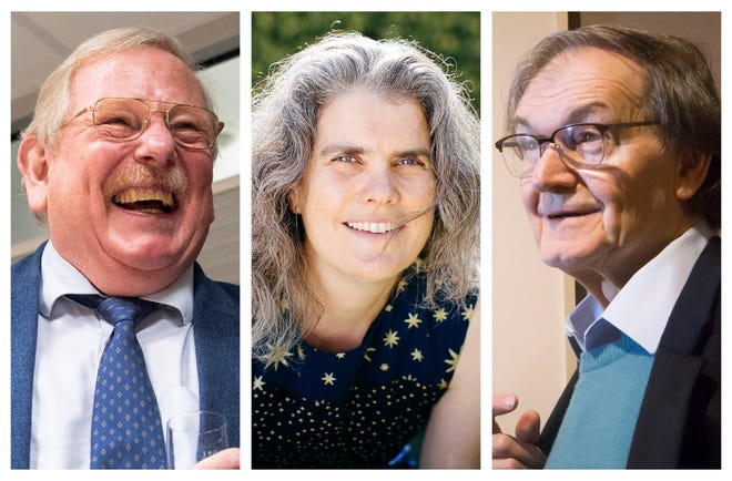 This combination of 2020 and 2015 photos shows, from left, Reinhard Genzel, astrophysicist at the Max Planck Institute for Extraterrestrial Physics; Andrea Ghez, professor of physics and astronomy at UCLA, and Roger Penrose, of the University of Oxford. On Tuesday, they shared the Nobel Prize in Physics for advancing our understanding of black holes.