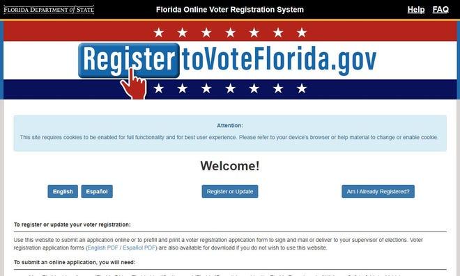 The website for RegistertoVoteFlorida.gov.