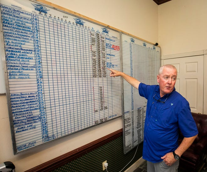 Dominic Brennan, the manager and on-site trainer at Summerfield Training Center shows the chart they use at the farm to track each horse on Tuesday morning. Preakness Stakes winner, Swiss Skydiver, spent time at the center, which opened last October on a portion of the former Padua Stables.