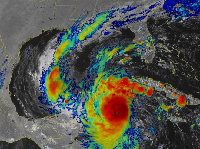 An image of Hurricane Delta packing 145-mph winds on Tuesday.
