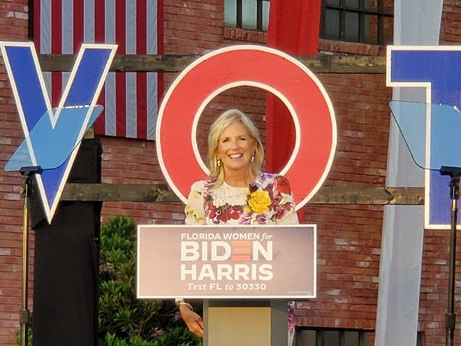 Jill Biden speaks at a rally in Boca Raton on Monday.