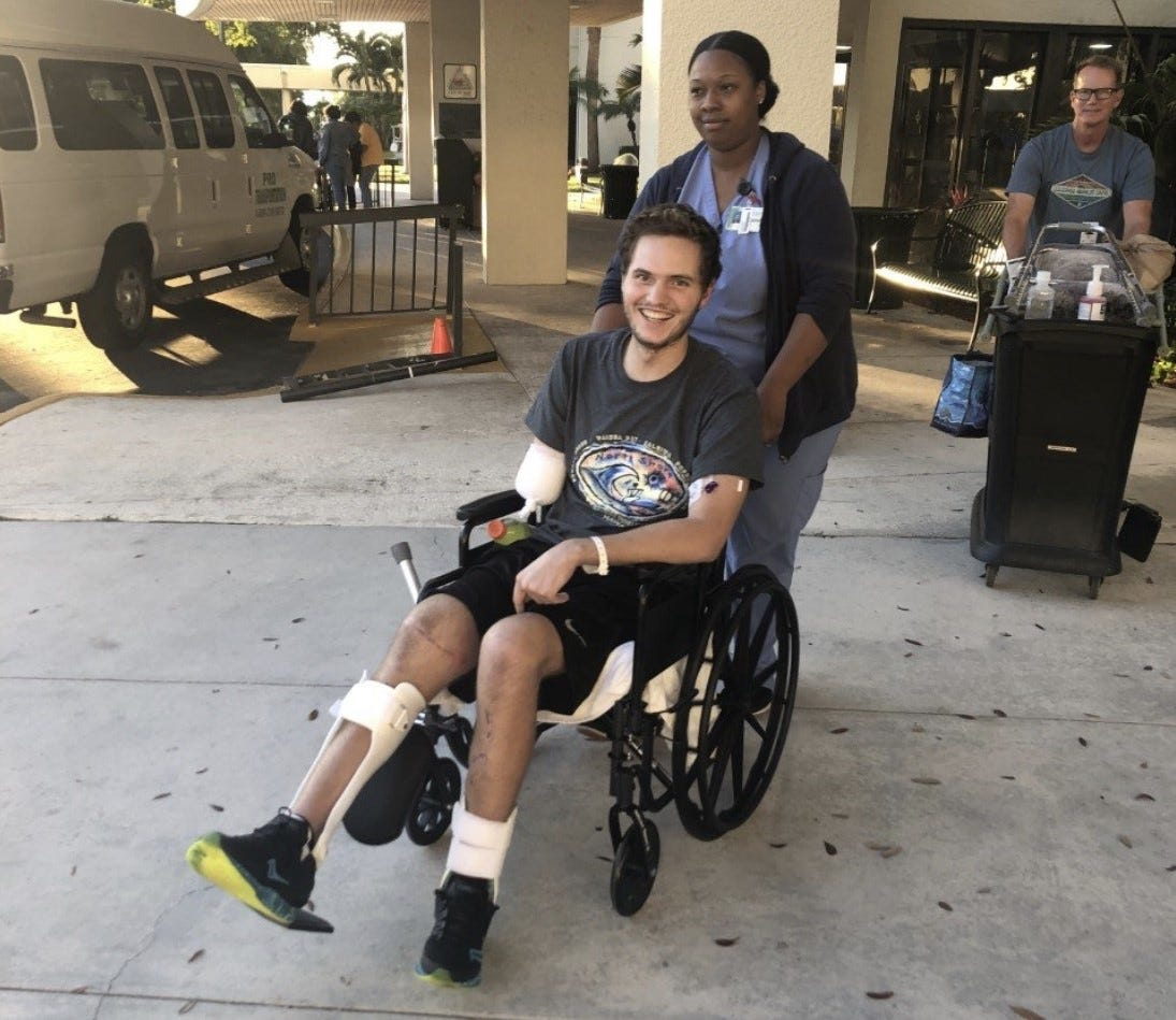 With his father trailing behind the wheelchair, Carter Viss was happy to leave St. Mary's Medical Center on Feb. 3, 2020 after more than two months in the hospital.