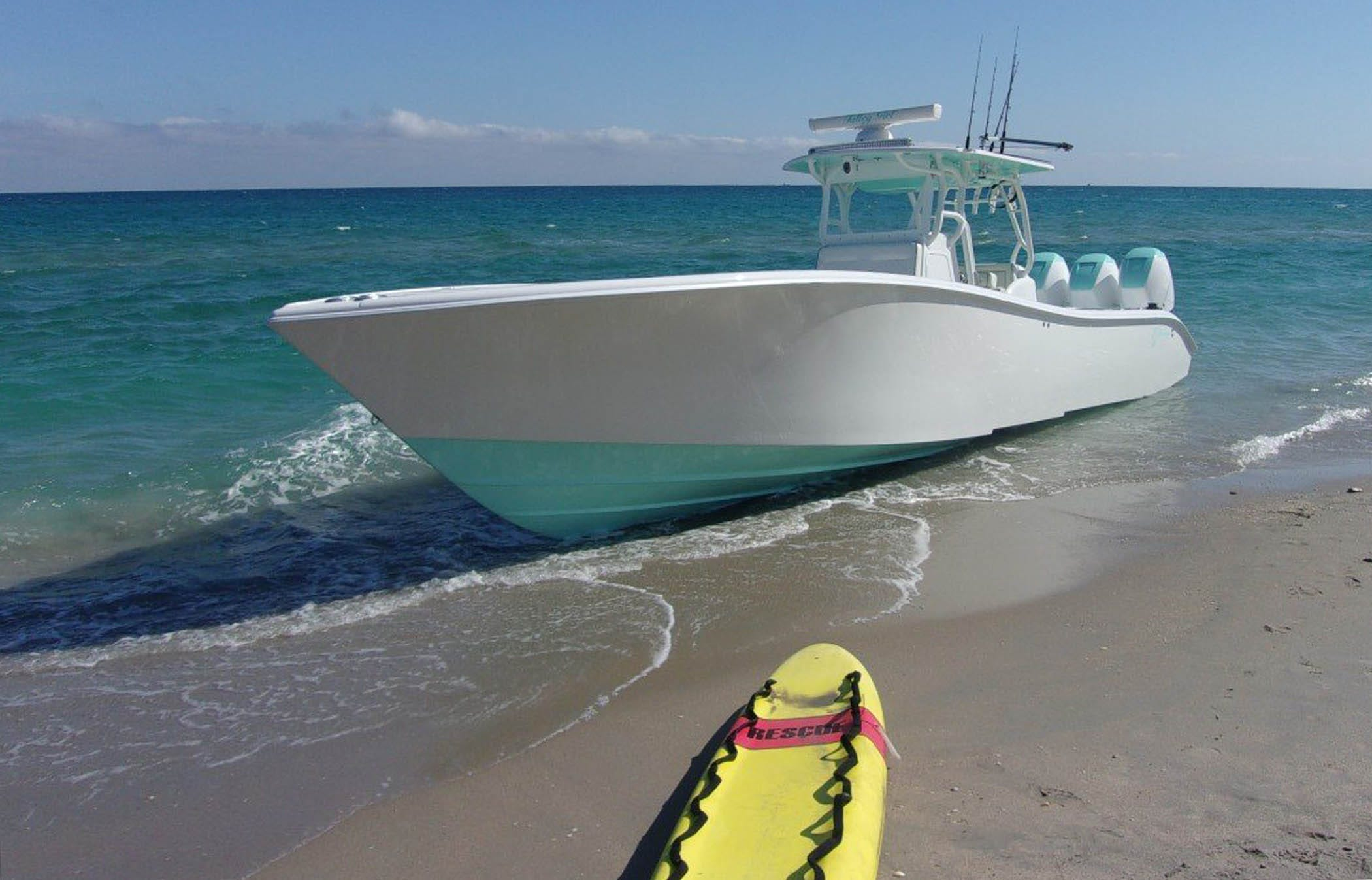 The boat Talley Girl after it struck Carter Viss in the ocean on Nov. 28, 2019. The boat ferried Viss to shore and beached itself so rescue crews could move the severely injured snorkeler to an ambulance.