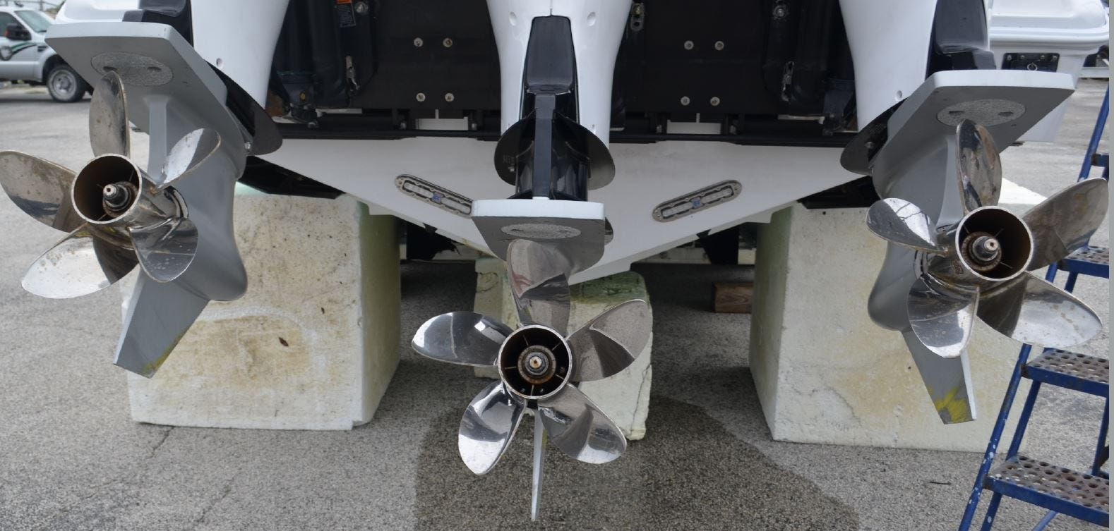 The boat that struck Carter Viss on Nov. 28, 2019, the Talley Girl, had three engines, each with five-blade propellers. The boat is shown here after the accident in a Florida Fish and Wildlife Conservation Commission lot.