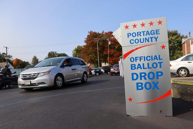 Cars drive past the official ballot drop box in the parking lot of the Portage County Administration Building prior to the Nov. 3 election. The board of elections will meet next week to determine the fate of hundreds of ballots that were either mailed after the election or were cast as provisional ballots.