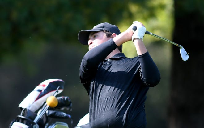 Green's Alex Micale competes in Boys Division I Sectional Golf Tournament at  Tannenhauf Golf Club in Alliance  Tuesday,  October, 06 2020.