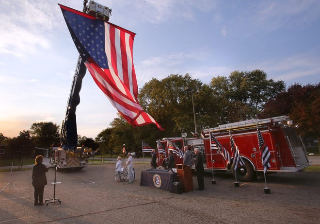 More than two dozen Perry Township firefighters were honored Tuesday evening for continuous service during an outdoor ceremony at the Township Administration Office. The event was scheduled to coincide with Fire Prevention Week, which runs through Saturday. U.S. Rep. Anthony Gonzalez, R-Rocky River, was the guest speaker.