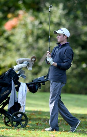 Jackson's Ben Ramold watches his shot in Boys Division I Sectional Golf Tournament at Tannenhauf Golf Club in Alliance Tuesday, Oct. 6 2020. Ramold is the Federal League Boys Golf Player of the Year.