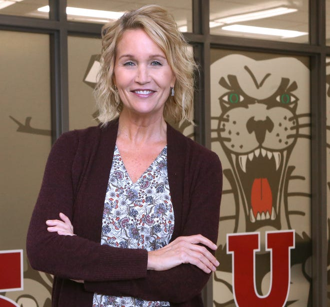 Barb Elsass of Canton South High School is one the Walsh University Teachers of the Month for October. She is shown at the school Tuesday, Oct. 6, 2020.