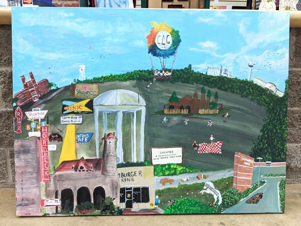 This artwork is an ongoing, collaborative effort throughout the month of October at the Community Art Gallery in Shawnee Mall as a part of Community Renewal's anniversary celebration.