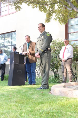 Jeremiah LaRue after being sworn in as Siskiyou County Sheriff on Oct. 6, 2020, in front of  the Siskiyou County Courthouse in Yreka.