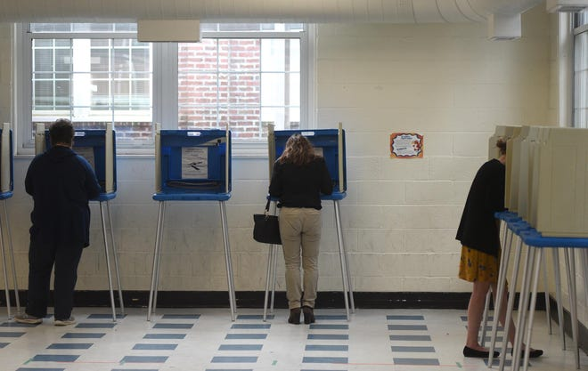 People vote during primary voting at Wrightsboro Elementary School in Wilmington, N.C., Tuesday, March 3, 2020.