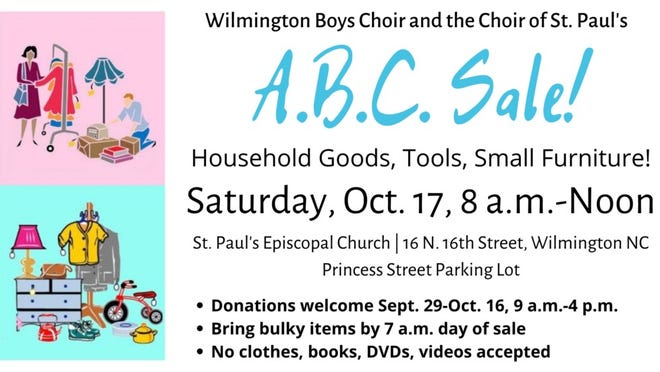 Wilmington Boys Choir and the Choirs of St. Paul's will hold its A.B.C. sale on Saturday, Oct. 17