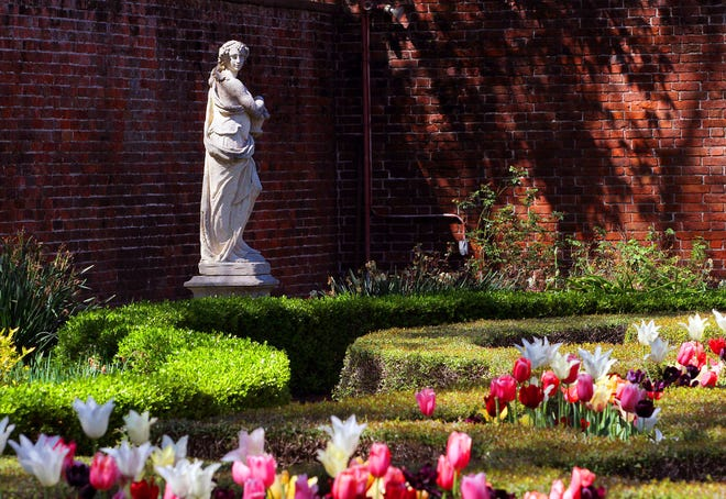 Vandals allegedly damaged the Latham Garden, seen here in a photo taken earlier this year. The Tryon Palace gardens were designed by noted landscape architect Morley Jeffers Williams in the 1950s and represent the formal garden style of 18th-century Britain. [Gray Whitley / Sun Journal Staff]