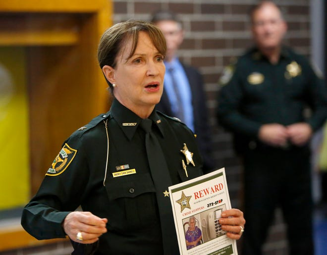 Alachua County Sheriff Sadie Darnell talks with a room of law enforcement volunteers in Newberry in this 2017 file photo.