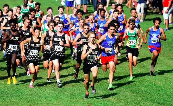 Ryan Motondo of Williams High School leads the pack in the boys' portion of the All-Alamance County cross country championships last September at Cedarock Park.