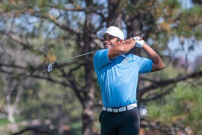 Pueblo West High School's Toby Salinas tees off on the eighth hole during the final round of the Class 4A state high school boys golf championships at the Country Club of Colorado on Tuesday.