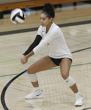 Senior defensive specialist Hani Sampson has made a big impact during her first season with the Gahanna girls volleyball team. Sampson moved to Gahanna from Fairborn at the end of the 2019-20 school year.