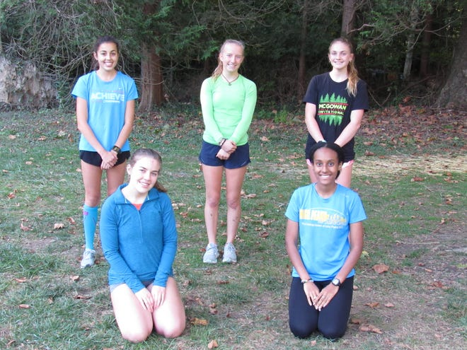 The seniors on the Bexley girls cross country team have a chance to win a fourth consecutive MSL-Ohio title Saturday, Oct. 17, in the league meet at Buckeye Valley. Pictured are seniors (front row, from left) Karleigh Place, Leah Tadese, (back row, from left) Ali Grieshop, Maria Steinke and Hannah Hayden. The senior class also includes Isabella Bowling.