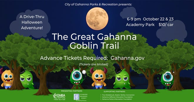 The Great Gahanna Goblin Trail will be held from 6 to 9 p.m. Oct. 22 and Oct. 23 at Academy Park, 1201 Cherry Bottom Road in Gahanna.
