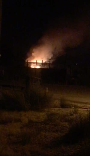 A screen grab of video shows a fire burning in Lucerne Valley on Tuesday, Oct. 6, 2020. Authorities said a man's body found in a mobile home after the blaze was extinguished.