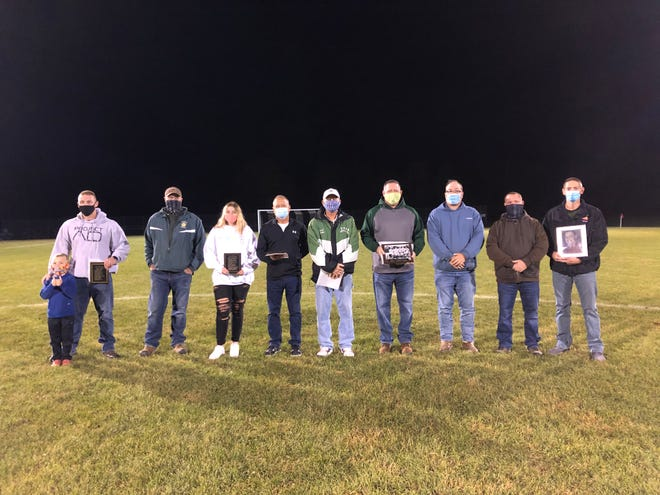 Five alumni and one sports team were inducted into the Genesee Valley Central School Athletics Wall of Fame during halftime of the boys soccer home opener on Saturday.