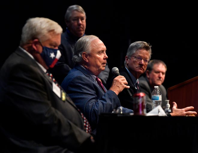 State Rep. Drew Darby, of District 72, speaks during a panel on working with the Legislature during Tuesday's 98th annual County Judges and Commissioners Association of Texas Conference at the Abilene Convention Center. In the foreground is Taylor County Commissioner Chuck Statler while seated beside Darby is District 60 Rep. candidate Glenn Rogers, who is running unopposed, and District 71 Rep. Stan Lambert. Standing is moderator Jim Allison.