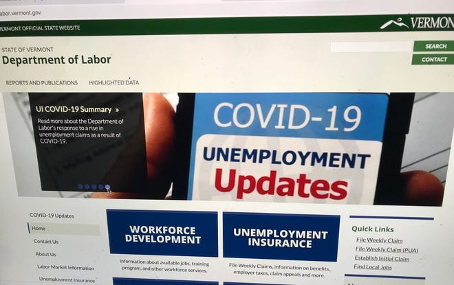 A landing page on the Vermont Department of Labor website features links to unemployment benefits, on Oct. 6, 2020.