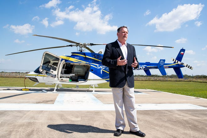 HALO-Flight's Executive Director Tom Klassen introduces the first Bell 407GXi IFR air medical service aircraft  to be put in to service on Tuesday, Oct. 6, 2020.