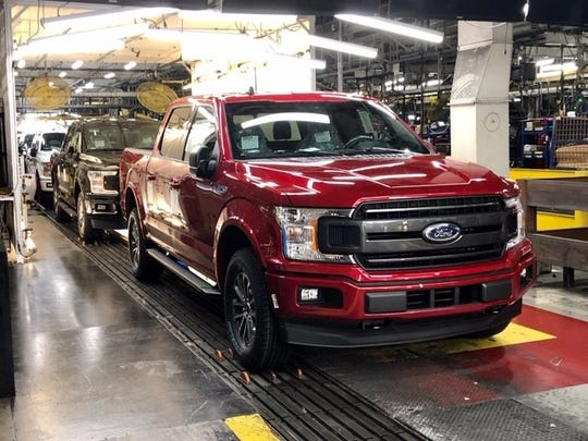 A 2020 F-150 shown here is rolling down the assembly line on October 6, 2020 at Kansas City Assembly Plant as one of the last produced before switching to the 2021 F-150.