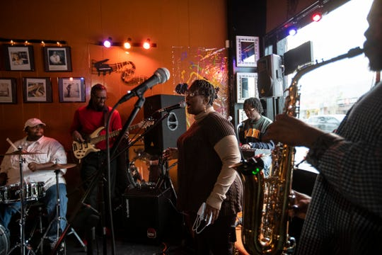 """Da Key of D Band performs at Gospel Music Cafe """"Home of Gospel Jazz Music"""" on Livernois Avenue in Detroit, Friday, Oct. 2, 2020."""