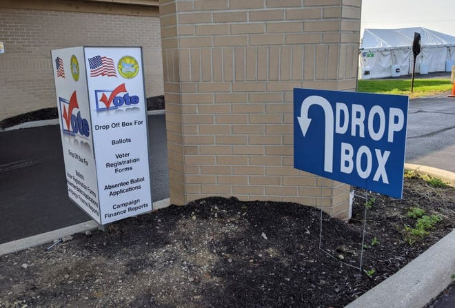 A voting drop box sits near the front entrance of the Sandusky County Board of Elections on Countryside Drive. Voters in Sandusky and Ottawa counties will decide on dozens of local candidates and ballot issues in the Nov. 2 general election.