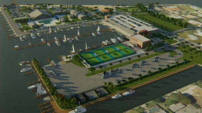Rendering of the plan for the reconstruction of the Cape Coral Yacht Club, including additional strips and a three story parking deck.