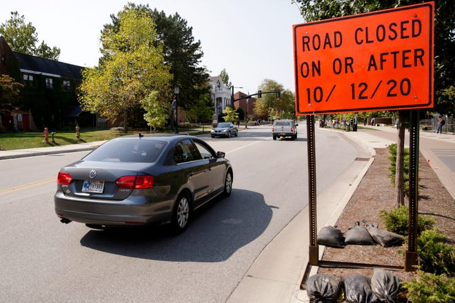 A sign advises motorists of State Street's closure beginning Oct. 12, Tuesday, Oct. 6, 2020 in West Lafayette.