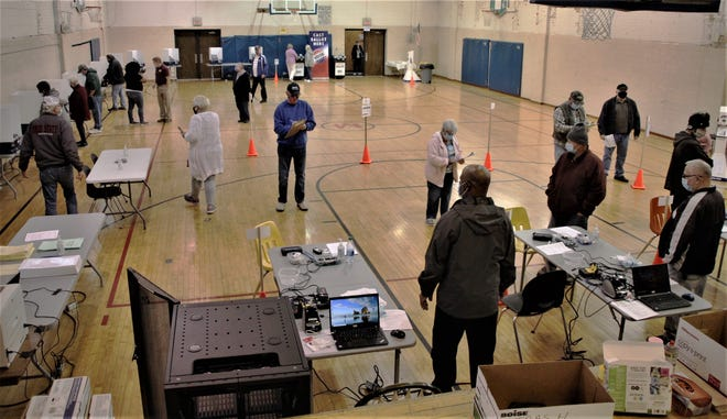 Marion County residents are participating in early in-person voting for the 2020 general election at the former Marion rec center, 240 W. Church St. behind City Hall. Board of Elections officials said a steady flow of voters passed through the temporary polling place on Tuesday morning, Oct. 6, 2020, which was the first day of early voting in Ohio.