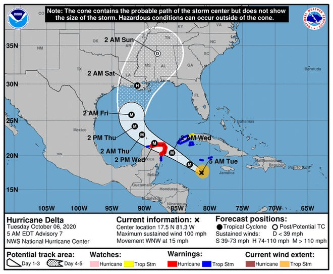 The remnants of Hurricane Delta could affect play in the Alabama-Ole Miss game Saturday.