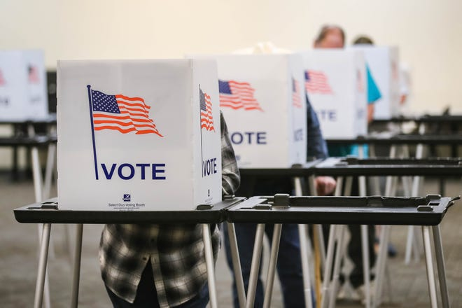 Residents vote at the Doña Ana County Government Center in Las Cruces on Tuesday, Oct. 6, 2020 — the first day of early voting in New Mexico.