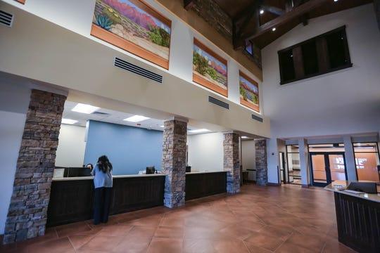 The lobby of Three Crosses Regional Hospital on Friday, Oct. 2, 2020.